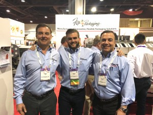 All in the family at the Fox Packaging booth: Craig, Jacob, and Aaron Fox.
